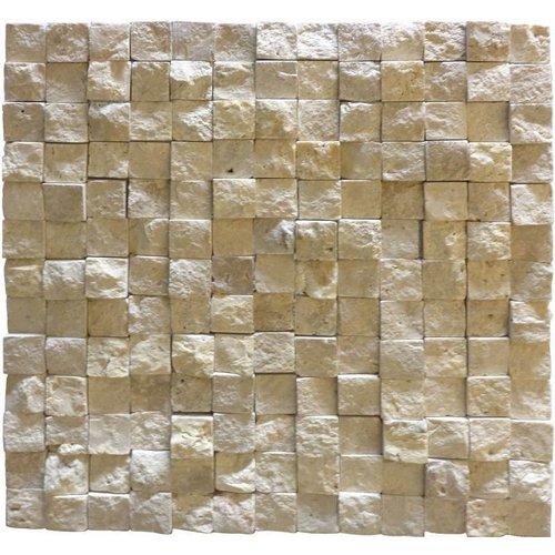 Classic Travertin / Apulia Ivory (Beige) Cubic 2,3X2,3X1, Breukruw (Prijs per Matje)