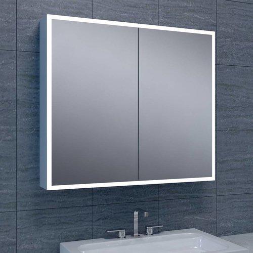 Spiegelkast Quattro Met Rand Verlichting 80X70X13 Aluminium