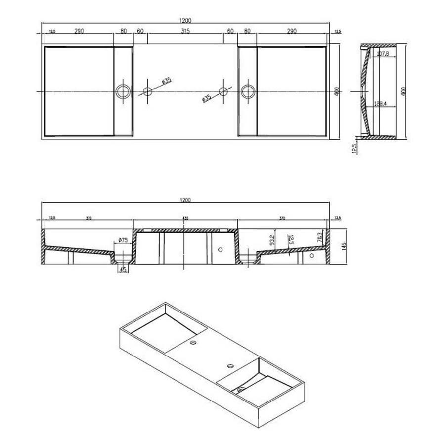 Wastafel Dubbel-120 Just Solid 120X45X15Cm