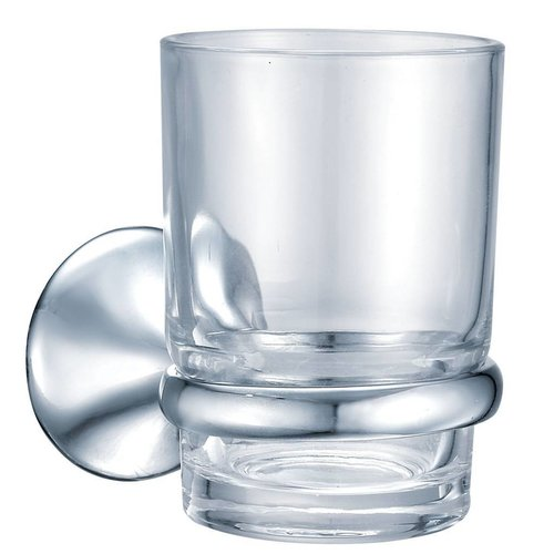 Classy Bekerhouder Met Mat Glazen Beker Messing Verchroomd 6,8 Cm