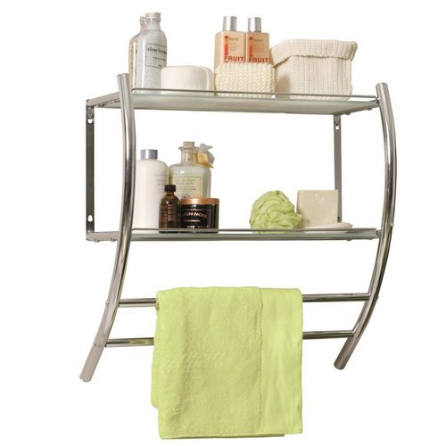 Spirit Hangende Handdoekhouder Voor Muurbevestiging Met 2 Melkglazen Schappen Chroom