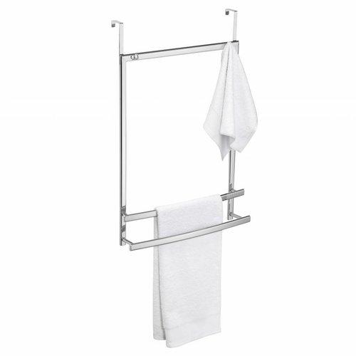 Ovalys Hangende Handdoekhouder Voor Deur Of Douchewandbevestiging Met 2 Stangen En 2 Haken Wit