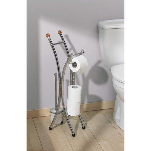 Toiletrolhouder Set Corfou Hout/Chroom
