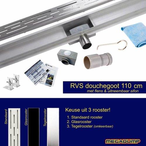 RVS Douchegoot FLENS 110x7cm met los sifon 6,7cm diep - Keus uit 3 roosters