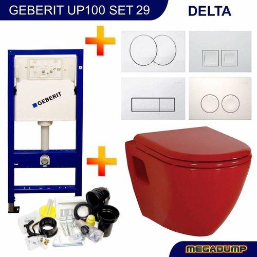 Up100 Toiletset 29 Creavit Tp325 Rood Met Softclose Zitting