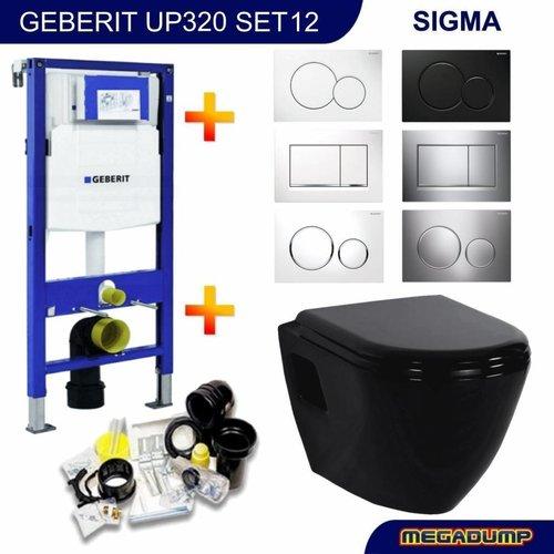 Up320 Toiletset 12 Creavit Tp325 Zwart Met Sigma Drukplaat