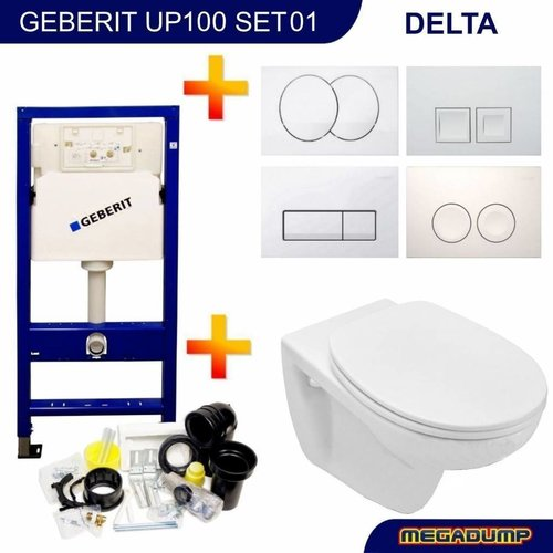 Up100 Toiletset 01 Basic Wandcloset Softclose Met Delta Drukplaat