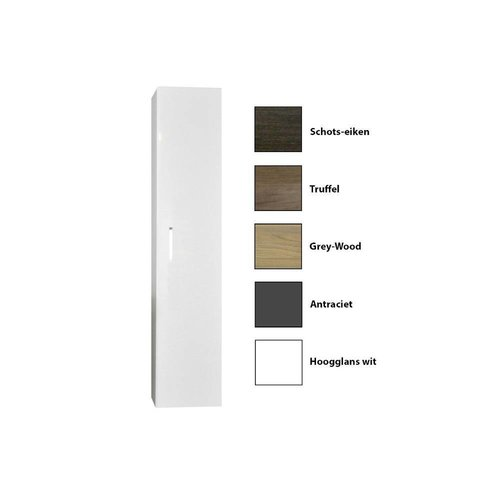 Kolomkast Sanicare Q1/Q4/Q12 Soft-Closing Deur Met Chromen Greep Inclusief Waszak 160x33,5x32 cm Grey-Wood