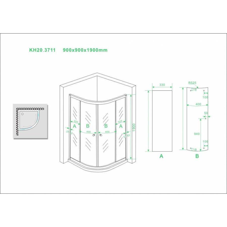 Outlet douchecabine Wiesbaden 1/4 ronde 5mm 900x900x1900 helder glas
