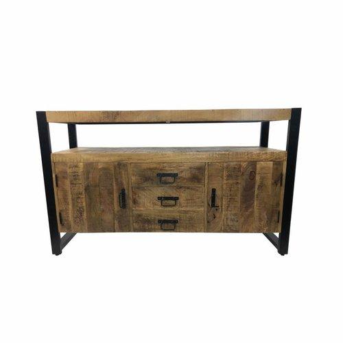 Onderkast Mango Wood 135x45x81cm Met Mat Zwart Metaal