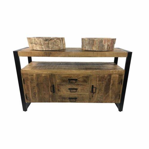 Badkamermeubel Mango Wood 135x45x81cm Met Malang Waskommen
