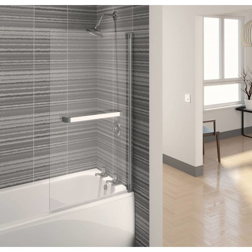 Badwand Aqualux Aqua5 Zilverprofiel met Handdoeken Rail 75x137.5 cm 4mm Antikalk Glas