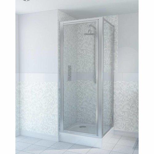 Draaideur & Zijpaneel Aqualux AQUA4 Zilver Profiel 76x185 cm 4mm Helder Glas
