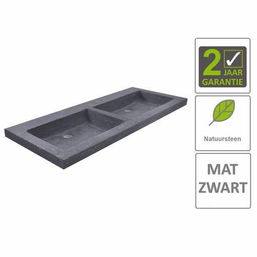 AQS Wastafel Dubbel Hardsteen 120x46x5 cm 0 Kraangaten Mat Zwart