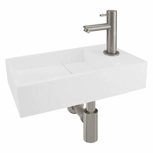 Fonteinset Differnz Rechts 36x18.5x9 cm Solid Surface Mat Wit (inclusief mat verchroomde kraan sifon en afvoer)