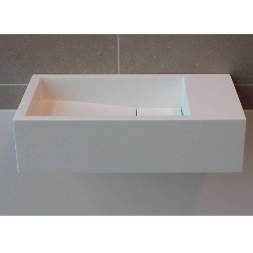 Fontein Luca Sanitair 35x18x9cm Solid Surface Zonder Kraangat Links Of Rechts Mat Wit