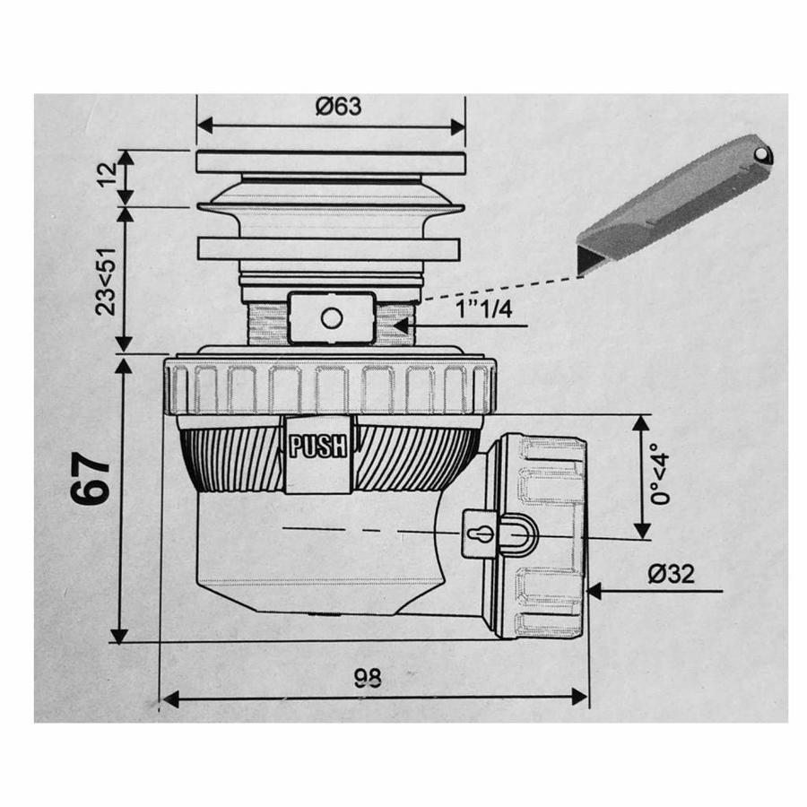 Clickwaste met Sifon Afsluitbaar Stankafsluiter Solid Surface Mat Wit