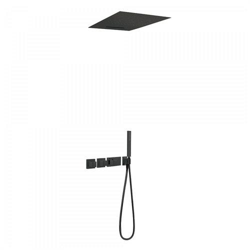 Regendouche Inbouw Tres Block System Thermostaatkraan 50x50 cm Douchekop Vierkant Plafond Mat Zwart