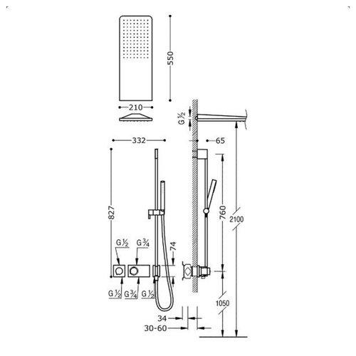 Regendouche Inbouw Tres Block System Thermostaatkraan 21x55 cm Douchekop Rechthoek Mat Zwart