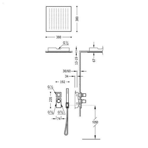 Regendouche Inbouw Tres Block System Thermostaatkraan 38x38 cm Douchekop Vierkant Plafond Mat Zwart