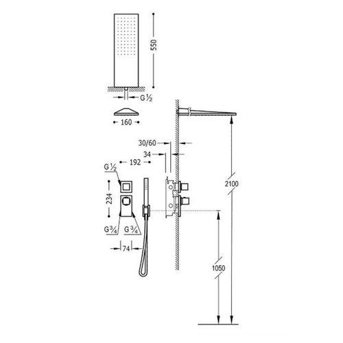 Regendouche Inbouw Tres Block System Thermostaatkraan 16x55 cm Douchekop Rechthoek Mat Zwart