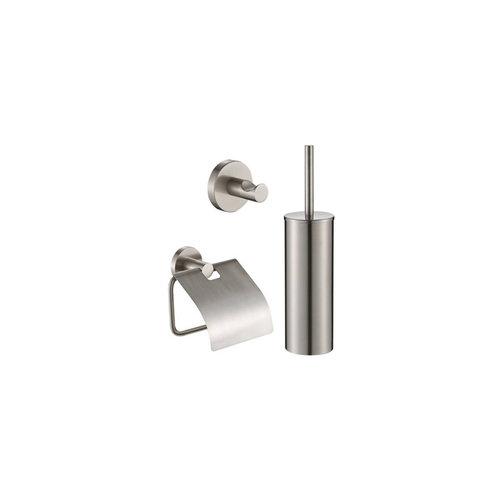 Toiletset Plieger Vigo Toiletborstelhouder met Handdoekhaak en Toiletrolhouder RVS Brushed