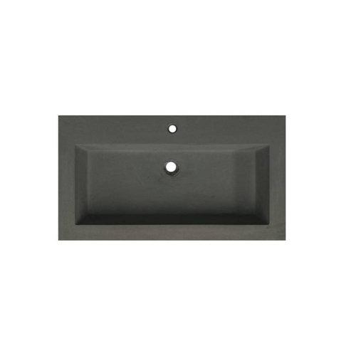 Wastafelblad Sanilux 80x47x5 cm Beton-Grijs (1 kraangat)