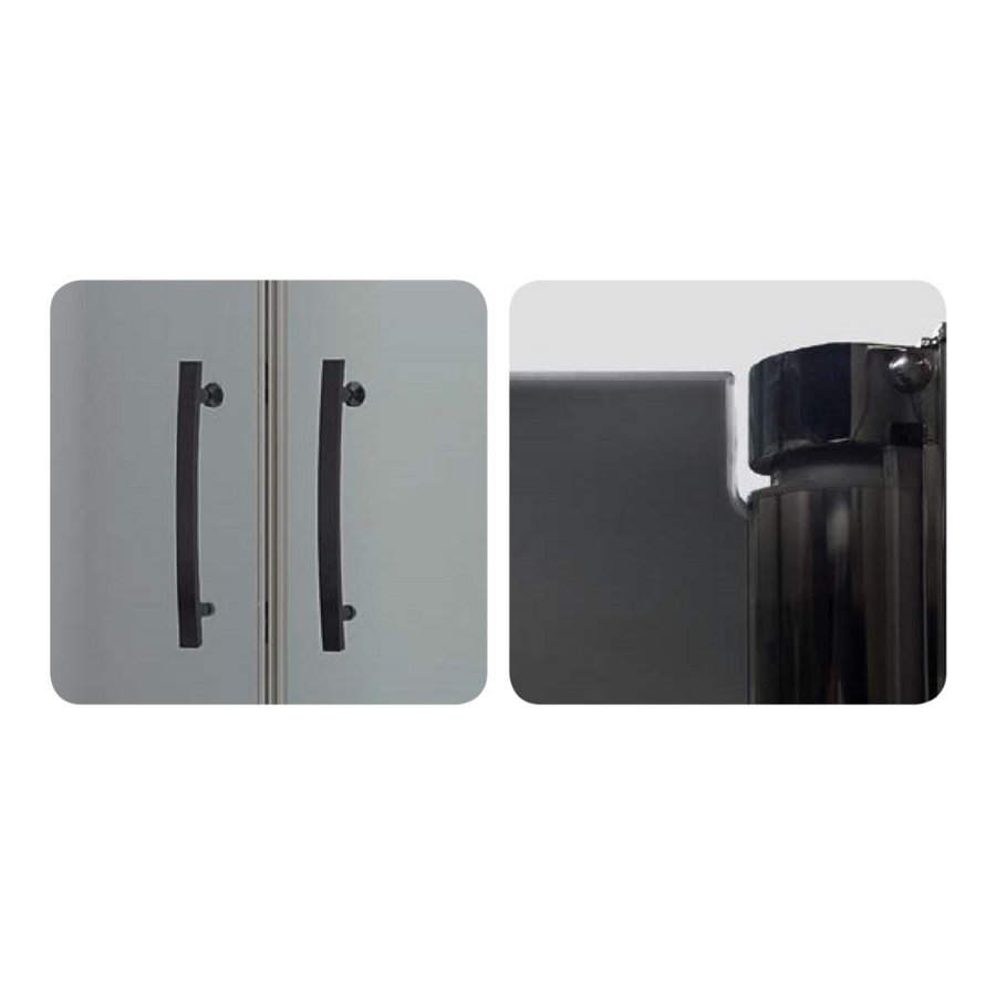 Nisdeur Tweedelig Lacus Giglio Black 80x190 cm Mat Zwart Profiel 6mm Rookglas