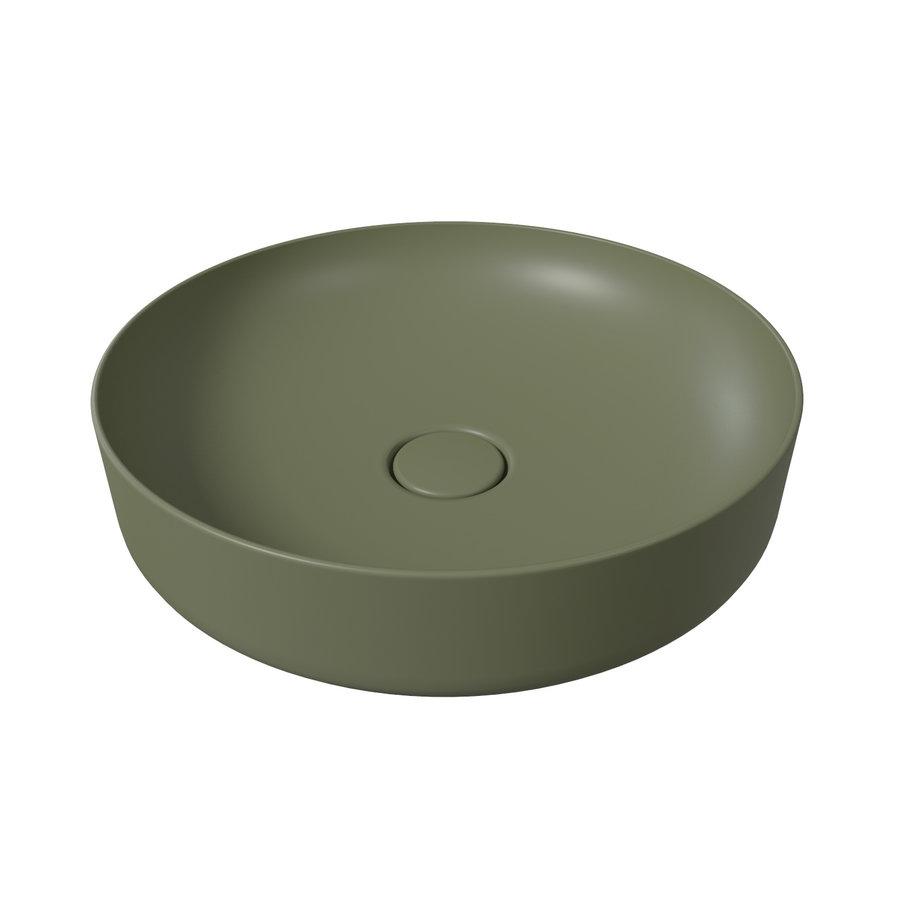 Opbouw Waskom Salenzi Form 45cm Mat Groen (inclusief bijpassende clickwaste)