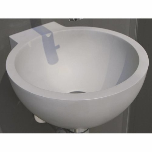 Fontein Luca Sanitair Wandmodel Rond 27x24x12cm Solid Surface Camoscio Grijs