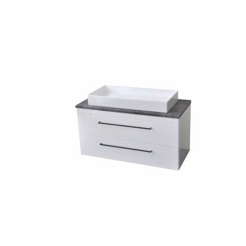 Onderkast Sanicare Q16 97,9x44,4 cm Twee Lades Grey-Wood