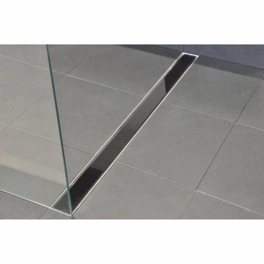 AQS Glasrooster Tbv RVS Douchegoot 110x7 cm Zwart