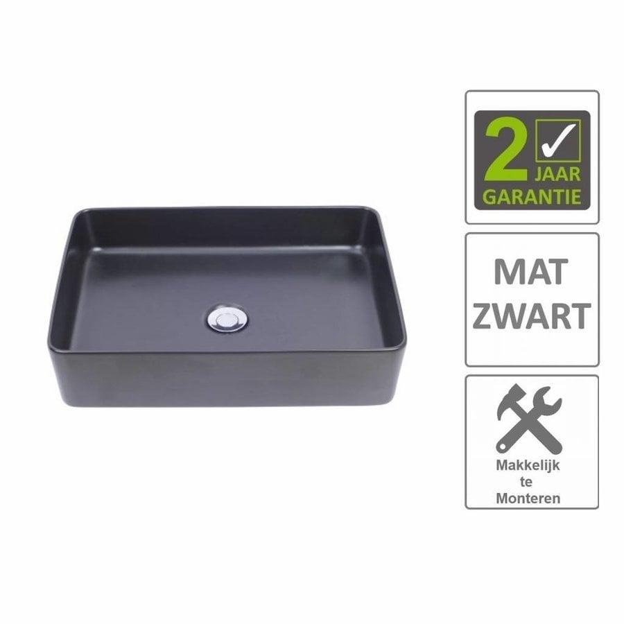AQS Waskom Mono Opzet Model Rechthoek 50x35x14.5 cm Mat Zwart