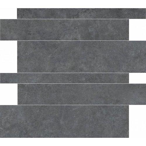 Vloertegel Tegelstroken Materia Antracite 5-10-15x60 rett (Doosinhoud 1,08 M²)