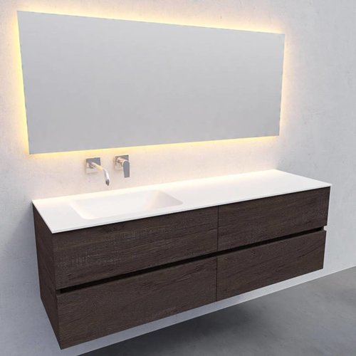 Badkamermeubel Solid Surface AQS Oslo 150x46 cm Links Wood Dark Brown 4 Laden (0 kraangaten)
