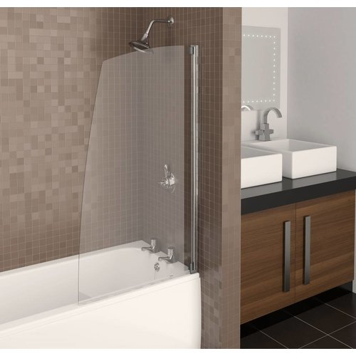 Badwand Aqualux Aqua5 Zilverprofiel met Handdoeken Rail 77x137.5 cm 4mm Antikalk Glas