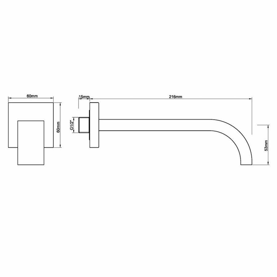 AQS Wastafelkraan Uitloop Vierkant 22 cm Mat Zwart