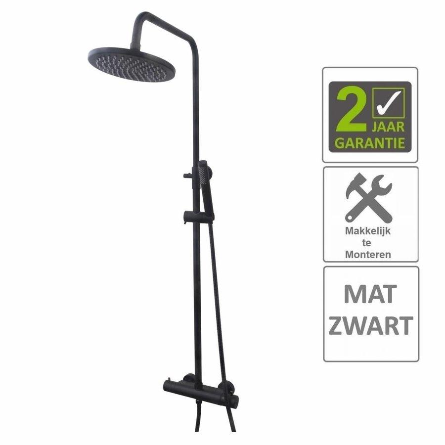 AQS Regendouche Opbouwset Thermostatisch 20cm Mat Zwart