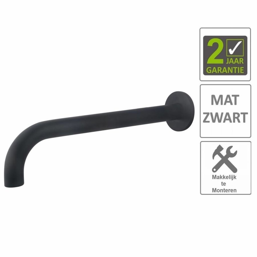 AQS Wastafelkraan Uitloop Rond 31.3 cm Mat Zwart