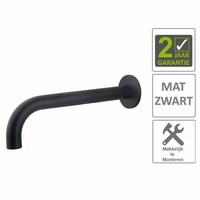 AQS Wastafelkraan Uitloop Rond 26 cm Mat Zwart