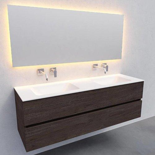 Badkamermeubel Solid Surface AQS Oslo 150x46 cm Dubbel Wood Dark Brown (0 kraangaten)
