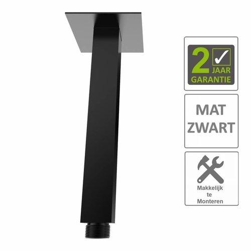 AQS Douche-Arm Luxe Vierkant Plafondbevestiging 15 cm Mat Zwart