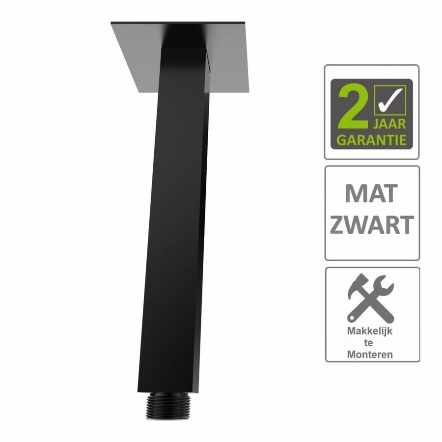 AQS Douchearm Luxe Vierkant Plafondbevestiging 20cm Mat Zwart