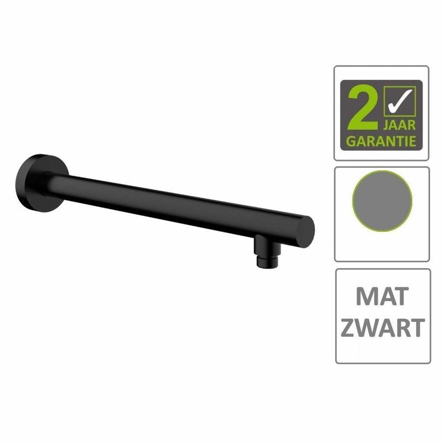 AQS Douchearm Rond Muurbevestiging 45cm Mat Zwart