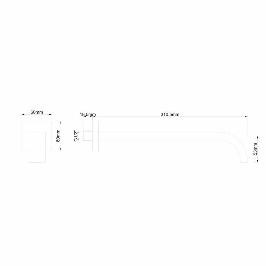 """AQS Inbouwuitloop Vierkant 31cm 1/2"""" Mat Zwart"""