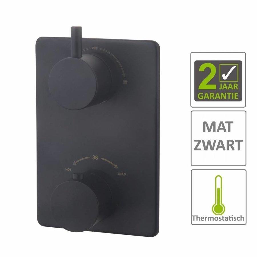 AQS Afbouwdeel Cemal Douche Thermostaat 2Weg Mat Zwart