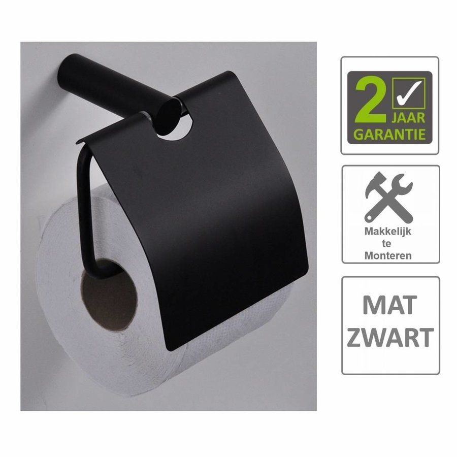 AQS Toiletrolhouder Mia Met Klep Mat Zwart