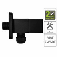 """AQS Hoekstopkraan Mika Square 3/8""""x10 Inclusief Rozet Mat Zwart"""
