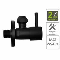 """AQS Hoekstopkraan Mika Minimaal 3/8""""x10 Inclusief Rozet Mat Zwart"""