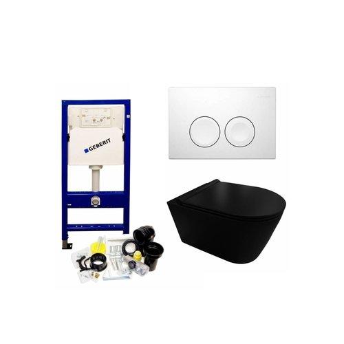 UP100 Toiletset 35 Civita Black Rimless Mat Zwart Met bril En Drukplaat